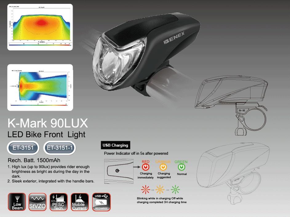 ET-3151 K-Mark 90Lux Bike Front Light